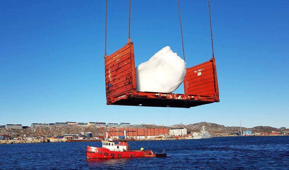 Harvesting ice at Nuuk Port and Harbour, Greenland Photo: Kuupik V. Kleist/KVK Consult © 2018 Olafur Eliasson