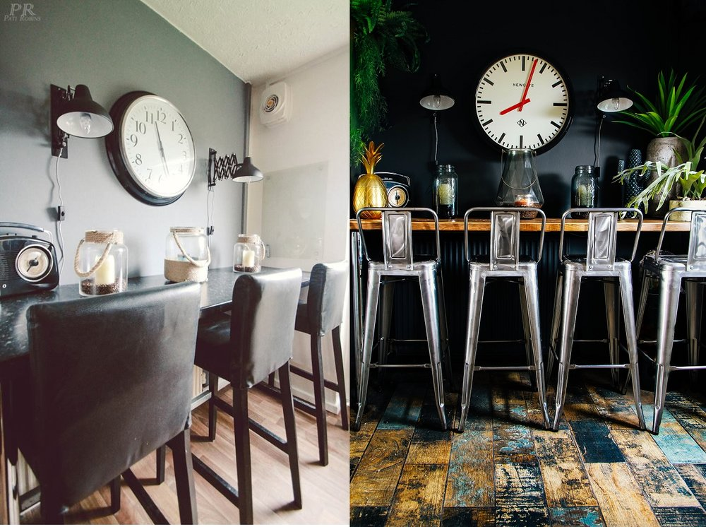 Bar area before and after - look at those beautiful wood effect tiles from Tile Mountain