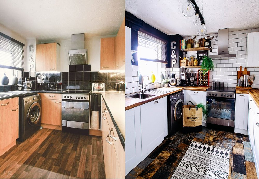 Kitchen before and after-Tiles from Tile Mountain and doors from Kitchen door workshop
