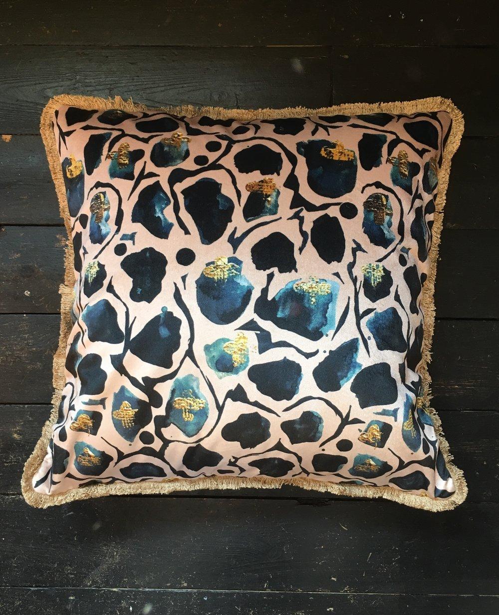 Image Credit Anna Hayman Designs - Beautifully crafted cushion in a Giraffe fabric