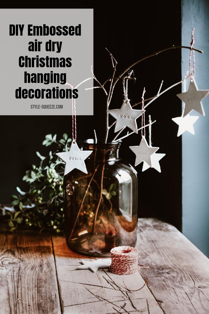 DIY Embossed air dry Christmas hanging decorations