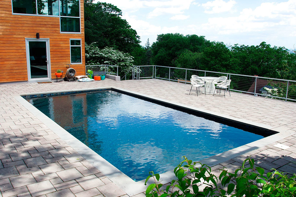 New Jersey pool clean and serviced view of New York City