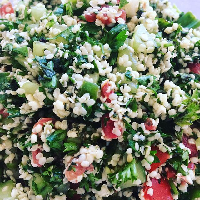 Hemp seed tabbouleh for our 28 Day Challenge! Yummy!