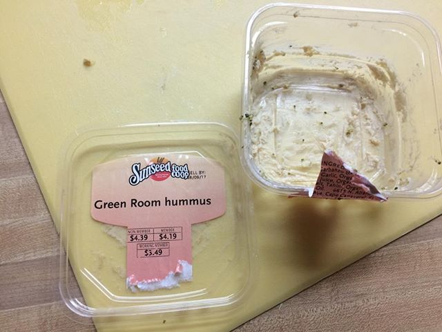Went faster than a downhill greyhound! Thanks Debbie - only organic hummus we found in town! #greenroom #cocoabeach #organic  #hummus