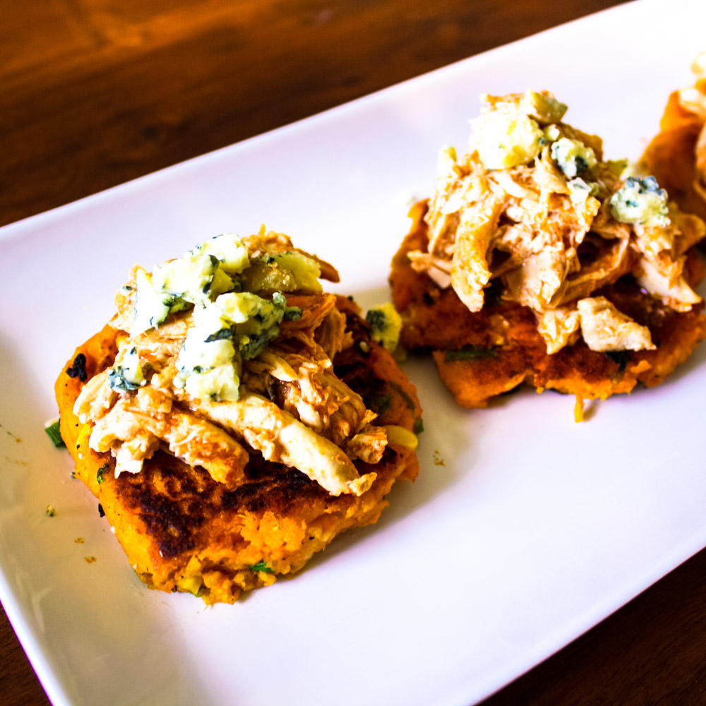 Sweet Potato Fritters with Buffalo Chicken - Looking for a great item to serve at a party or gathering? Look no further!