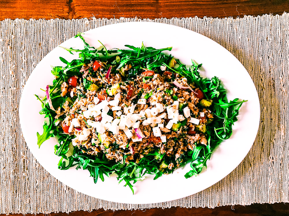 Salmon Quinoa Salad - This dish makes tastes even better the next day! Great source of omega 3 which is great for your skin.