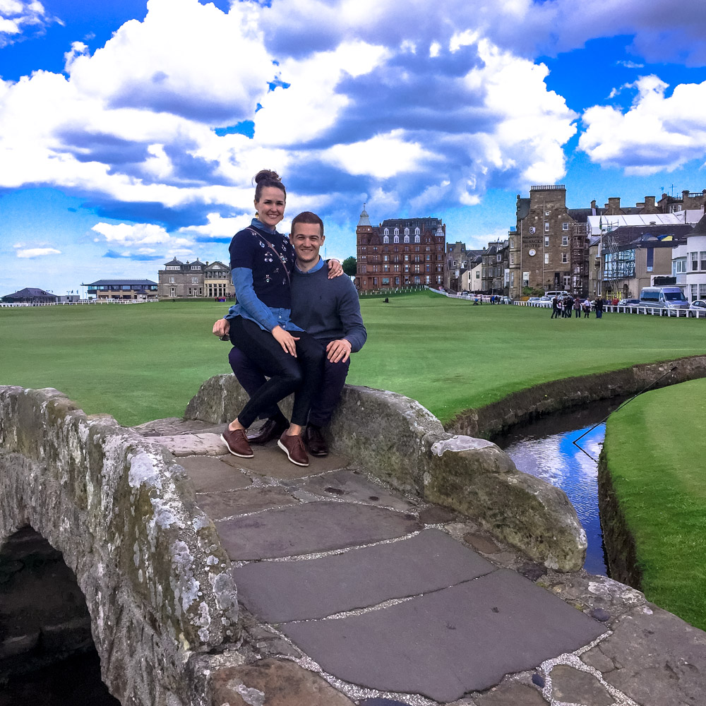 The famous bridge on St. Andrews Golf Course.