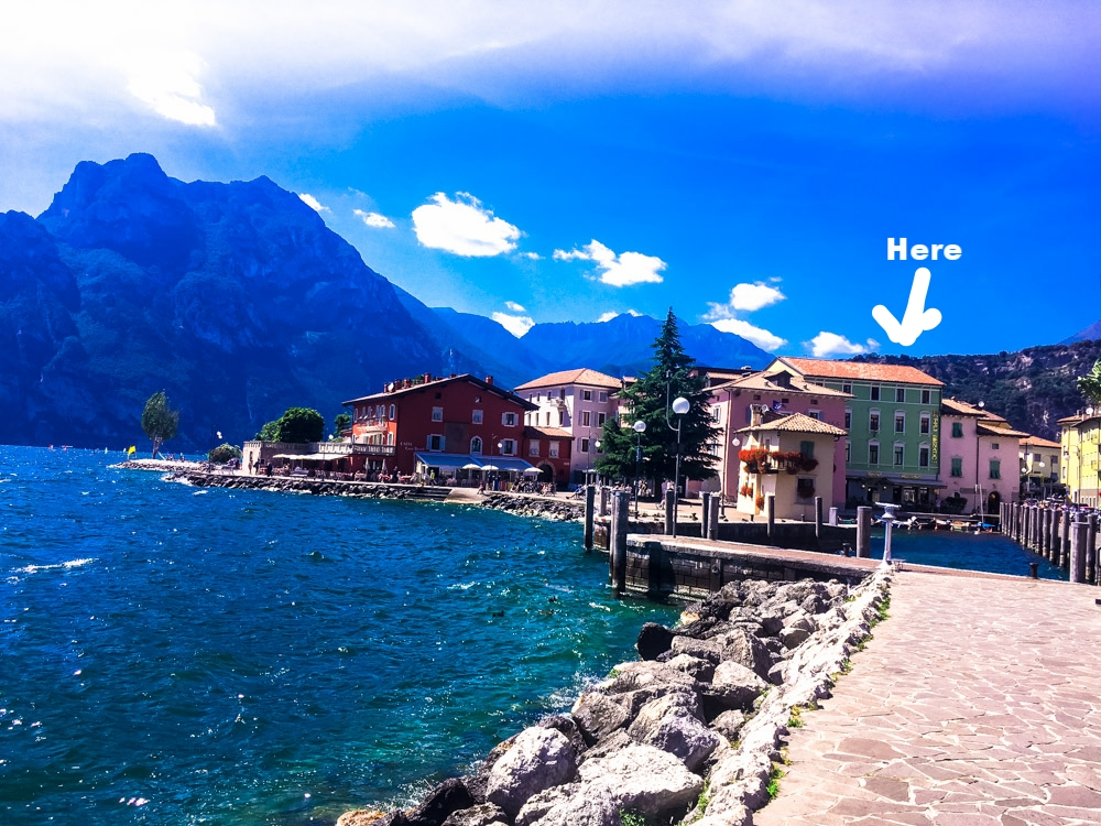 We stayed in a Hotel Benaco right near the water. It's the little green building to the right side of pic. It was straight out of the 70's with a bed with the firmness of a rock but location couldn't be beat!