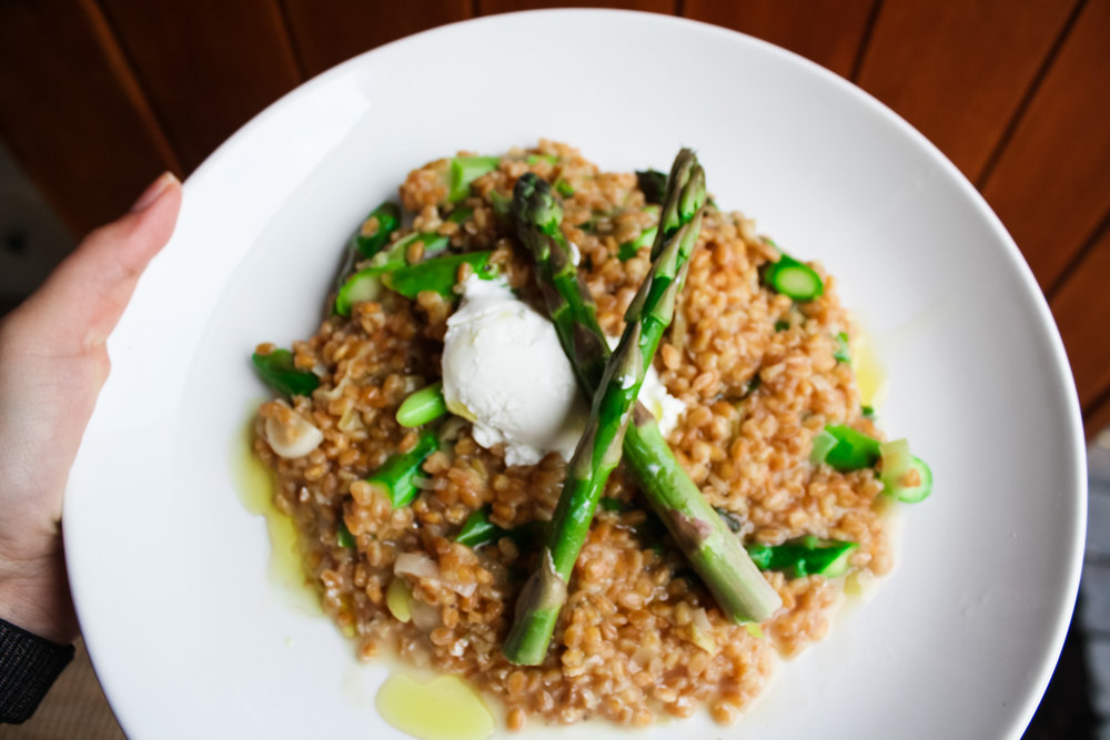 Spelt Asparagus Risotto - Ancient grain chalk full of benefits!