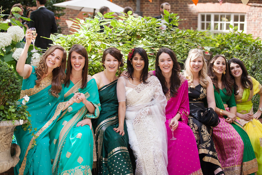Wedding London, Bride and Bridesmaids in colorful Saris