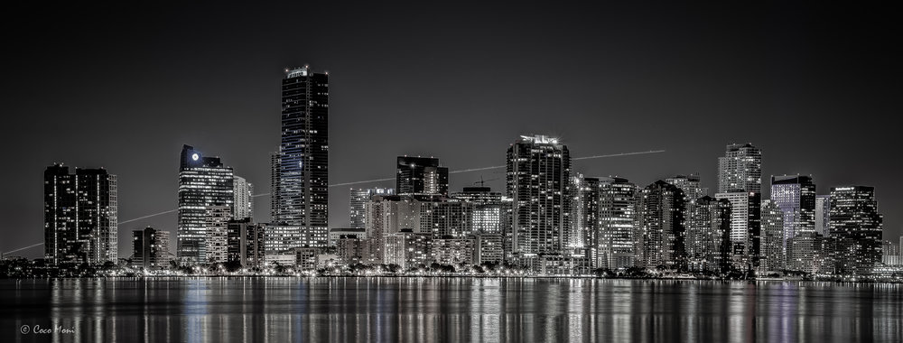 a-plane-over-miami-skyline-in-b-w.jpg