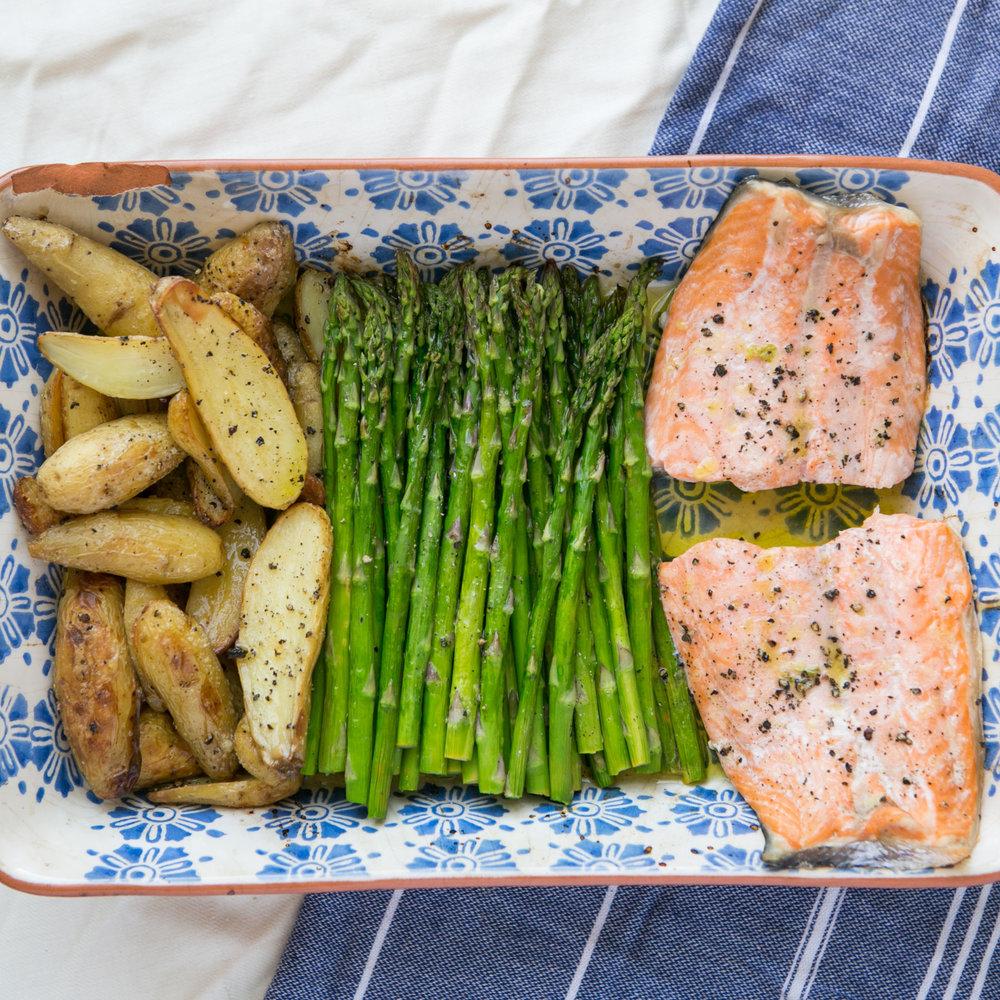 Roasted Salmon, Potatoes and Asparagus