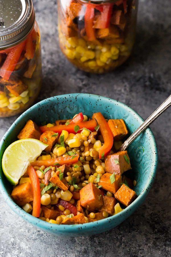 Southwest Sweet Potato and Lentil salad