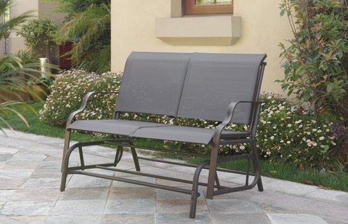 Patio Furniture Loveseat Glider.Outdoor Loveseat Glider Dark Grey