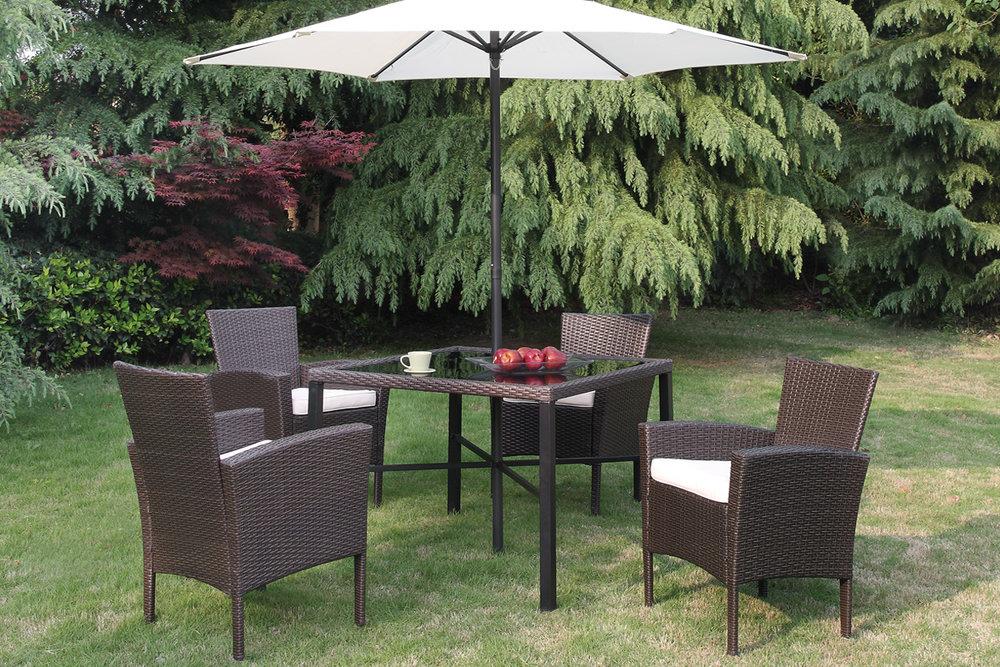 Attractive 6 Pc Outdoor Patio Table Set With Umbrella