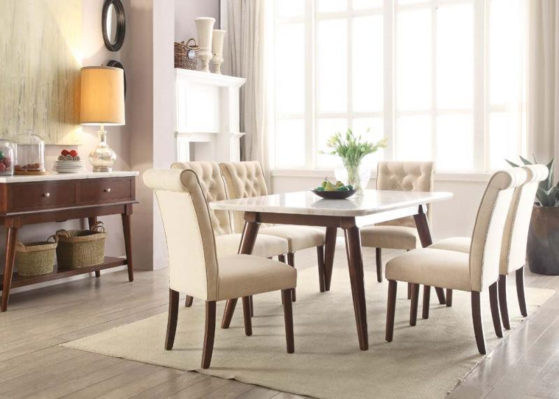 Ordinaire White Marble Top Dining Set