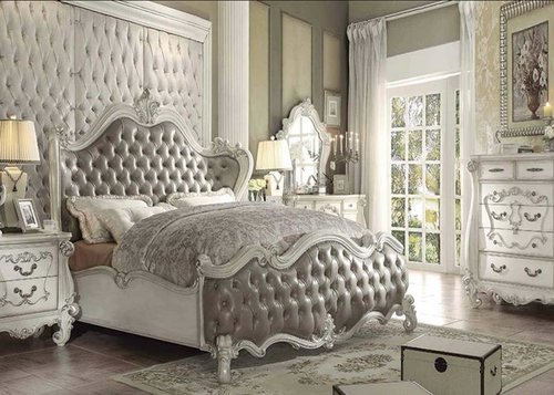 Bone White Finish /Vintage Grey PU — DecoDesign Furniture ...