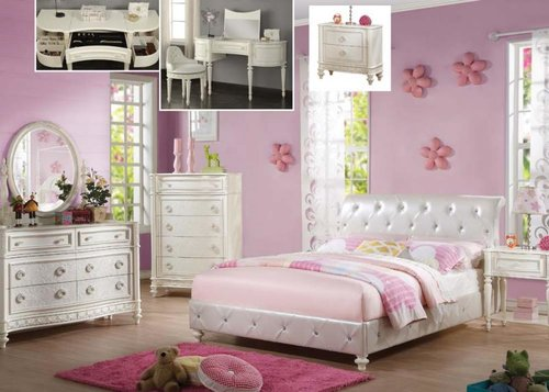 White & Light Purple Canopy Bedroom Set