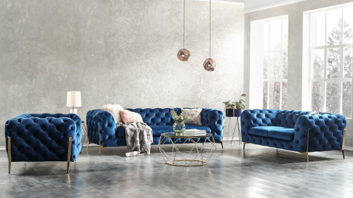 Dark Blue Fabric Sofa Set Decodesign Furniture Furniture Store Miami Fl Wholesale Prices