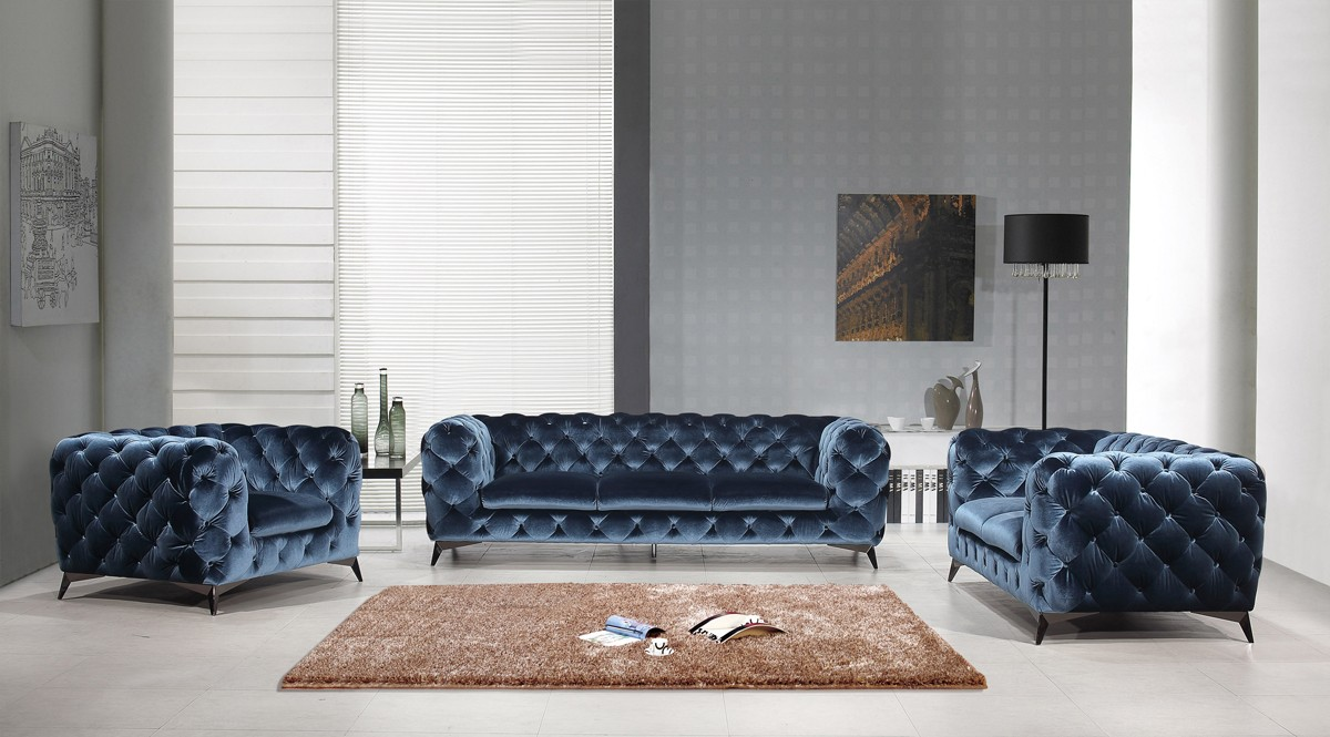 Miraculous Modern Blue Fabric Sofa Set Decodesign Furniture Furniture Store Miami Fl Wholesale Prices Download Free Architecture Designs Scobabritishbridgeorg