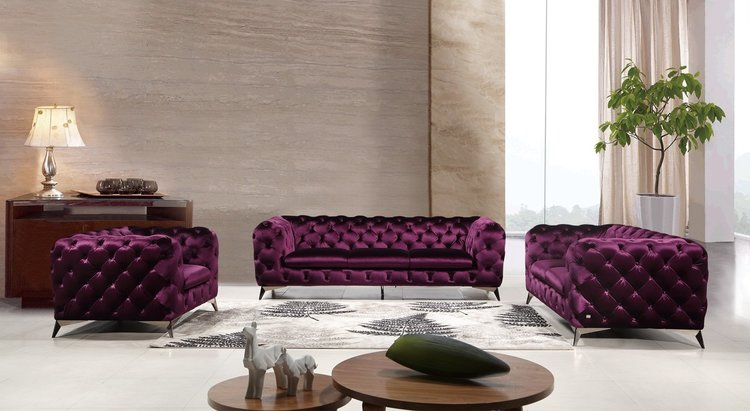 Modern Purple Fabric Sofa Set — DecoDesign Furniture | Furniture ...