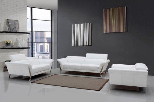 Modern White Leather Sofa Set