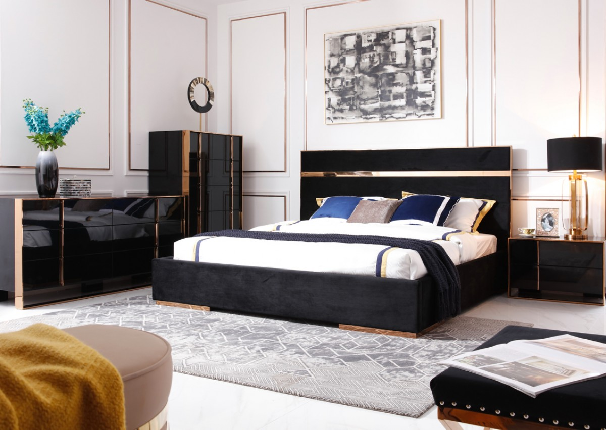 Modern Black And Rosegold Bedroom Set Decodesign Furniture Furniture Store Miami Fl Wholesale Prices