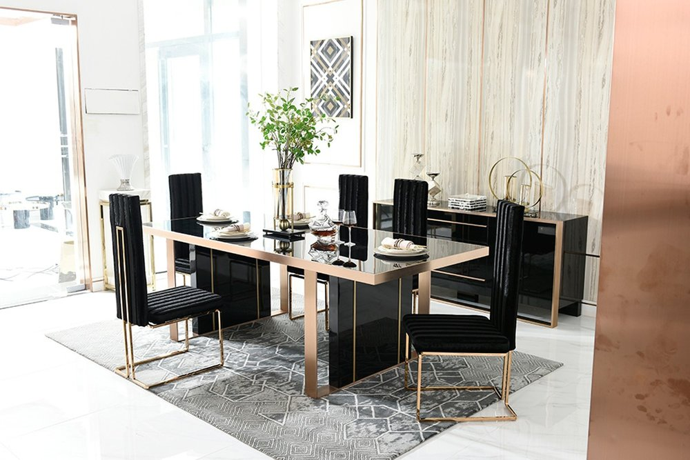 Black And Gold Dining Table