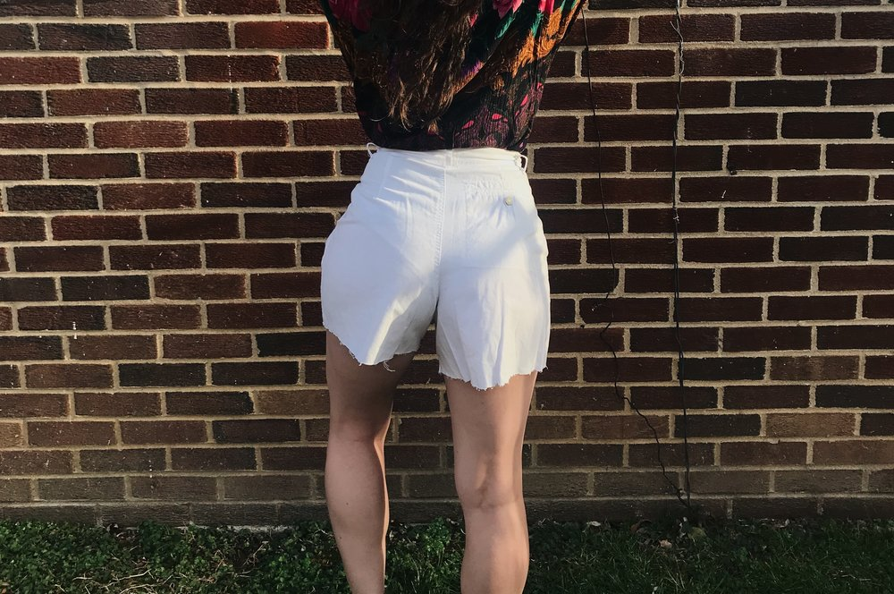 White High Waist Shorts - size 25-26