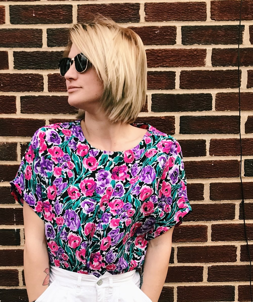 Floral Silky Tee - size small