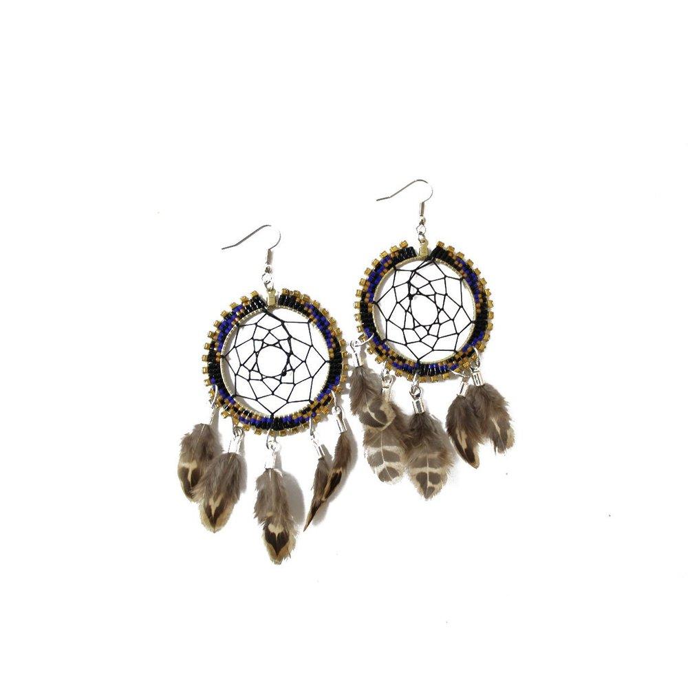 Dreamcatcher Earrings (blue) $80
