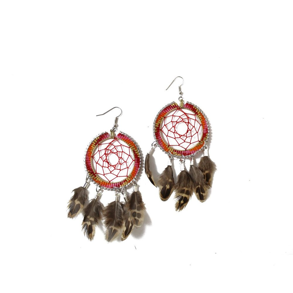 Dreamcatcher Earrings (red) $80