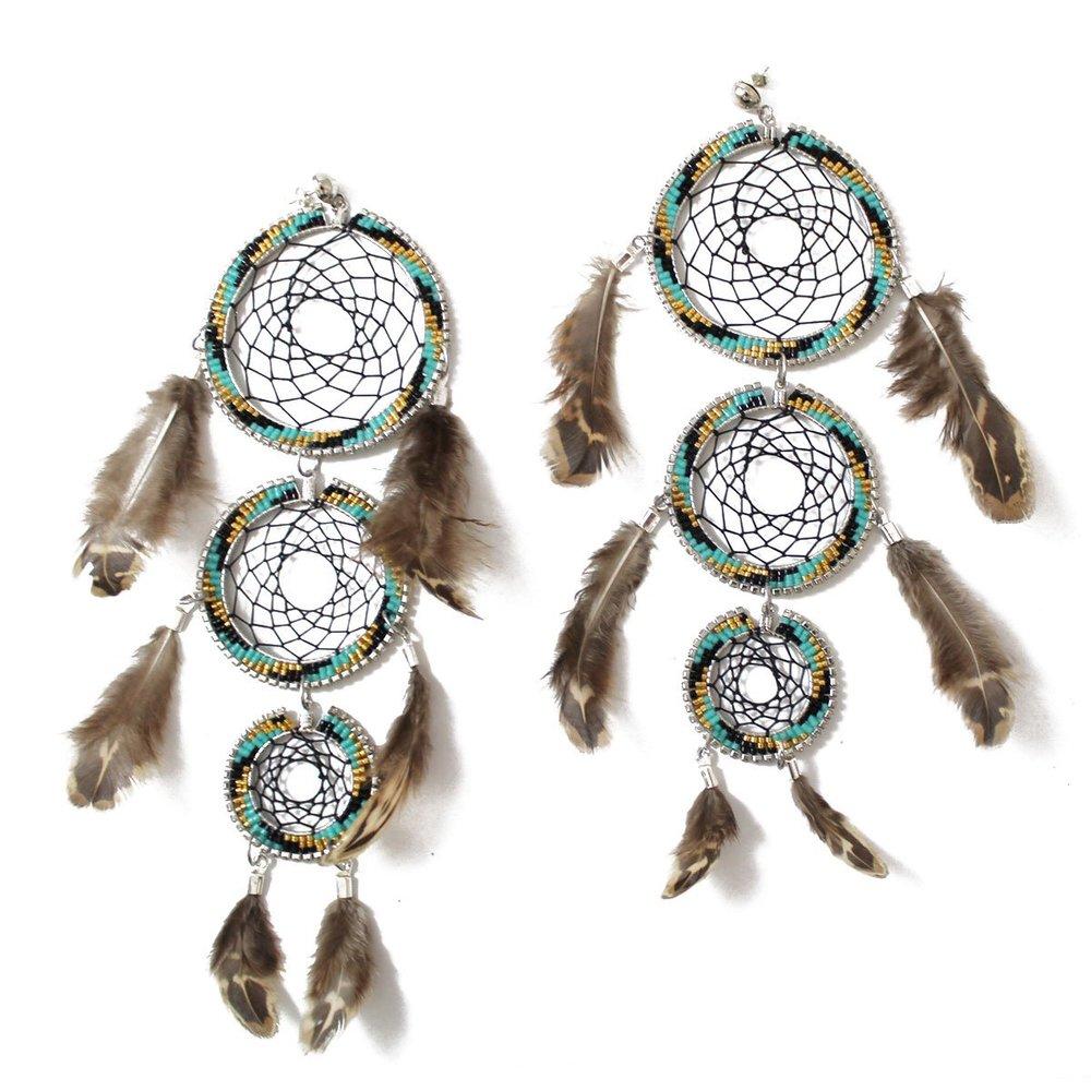 Tri-level Dreamcatcher Earrings (teal) $200