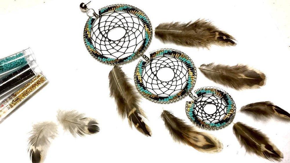 three tier dreamcatcher earrings.jpg