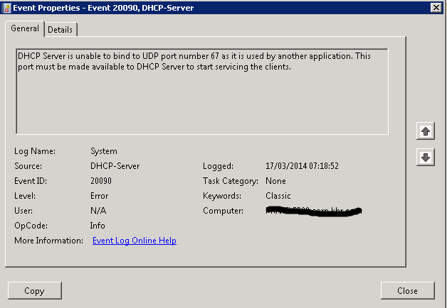 DHCP Server is unable to bind to UDP port number 67