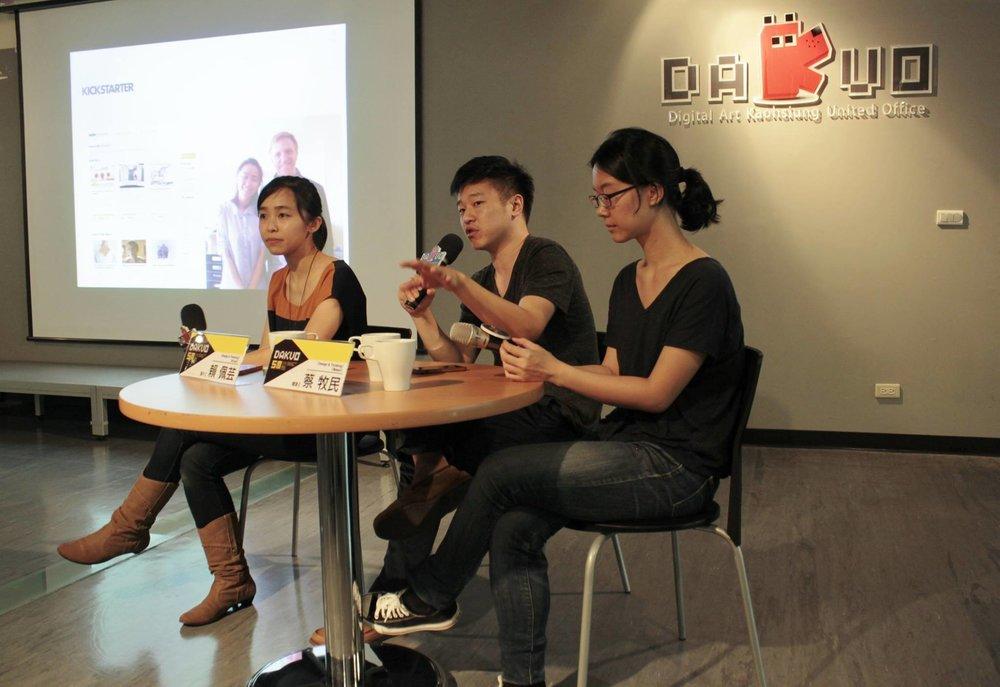 (圖片由左而右分別是:製片Iris、導演蔡牧民、製作統籌項藍。Shot by  Dakuo 高雄市數位內容創意中心 )