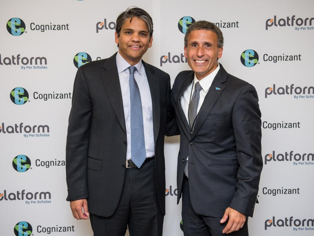 Francisco D'Souza, CEO, Cognizant (L) and Plinio Ayala , President & CEO, Per Scholas (R) at the Cognizant Bronx Training Center celebration on September, 18, 2017.