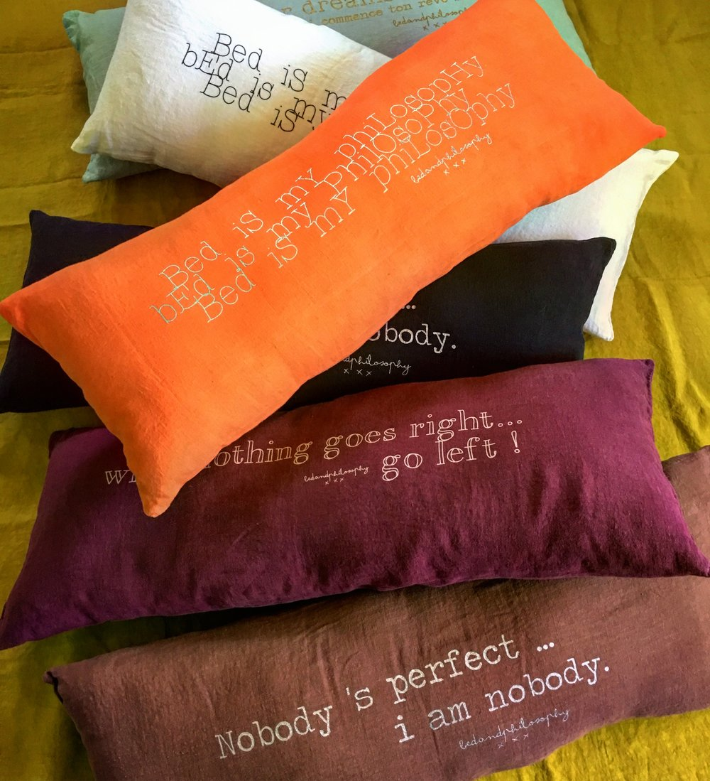 French Linen Cushion Bed and Philosophy collection