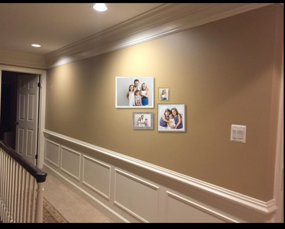 - Together with the client we used our software to select images and frames and create a visual rendering of the start of their lifelong gallery wall!   You can see a very realistic layout of the wall in the design process to the left!
