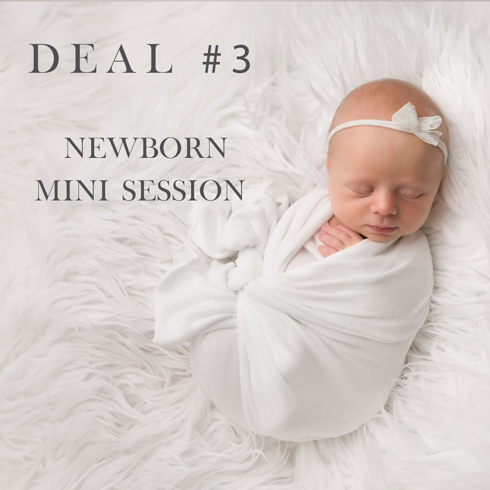 - Mini Newborn Session - $625 (SPECIAL OFFER!)Includes:• 1 hour session at our studio with 2 looks (or more) for baby only (scheduled during baby's first two weeks of life)• 10 digital image files • Pre-session planning appointment with photographer to discuss details and how to prepare • In-person studio Viewing and Ordering appointment within two weeks of your session or Online Gallery• 15+ Image gallery fully edited to our artistic vision• Optional blog announcement feature to share with family and friends