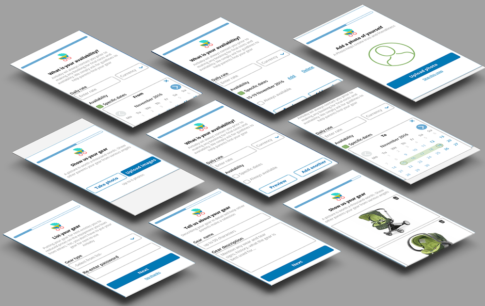 registration screens -