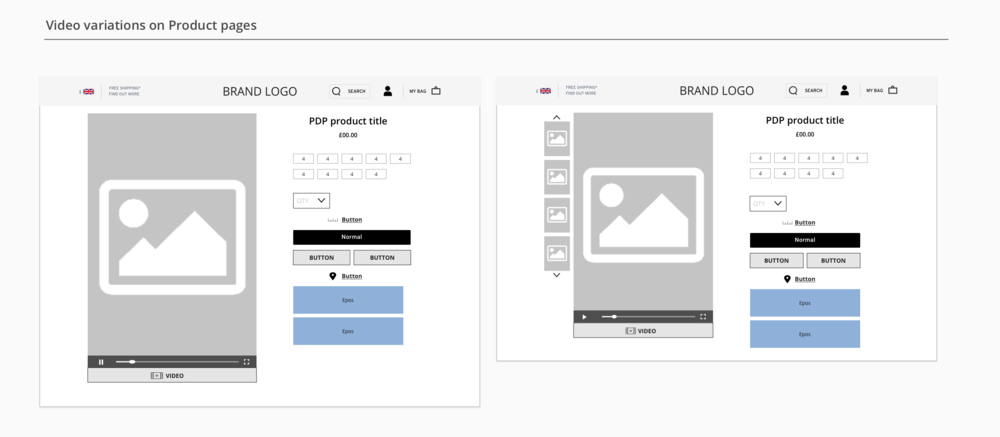 Product page wireframes  -