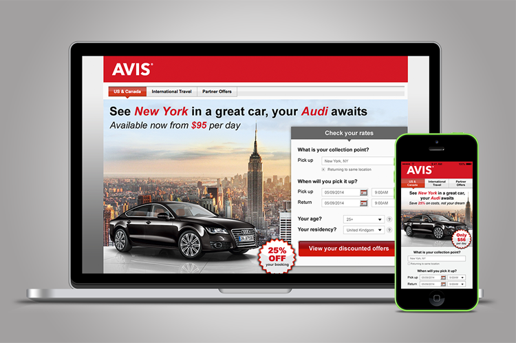 Avis car hire - A series of dynamic landing pages, generating bespoke content for each user, ensuring maximum conversion rate for this ad campaign.