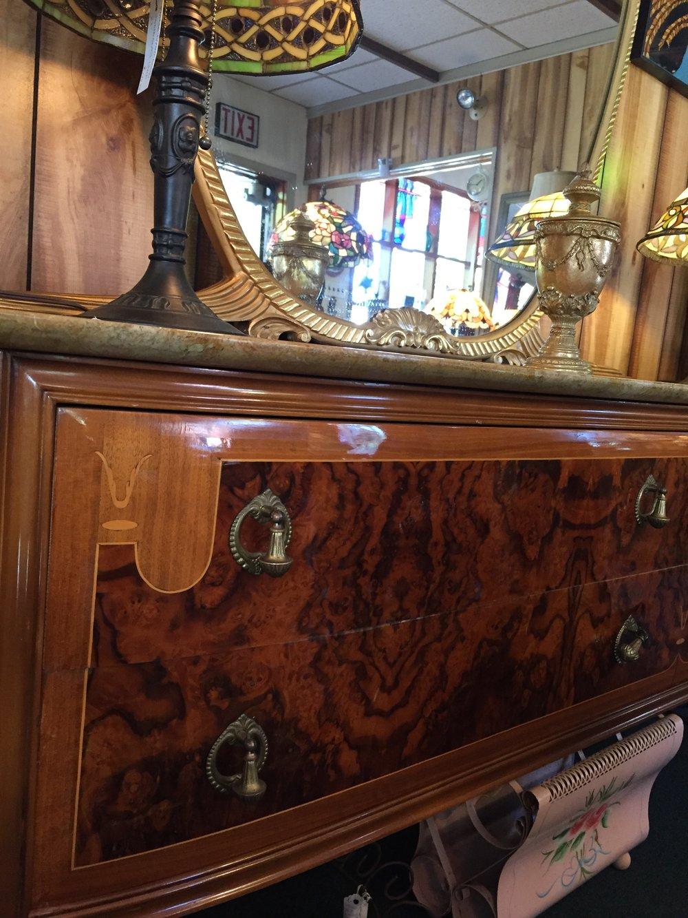 Elegant, Inlaid Wood Marble-Top Antique Dresser - SALE! Elegant, Inlaid Wood Marble-Top Antique Dresser — LOLA'S Menagerie