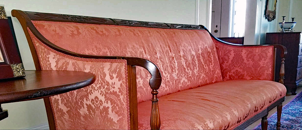 Damask Upholstered Antique Sofa