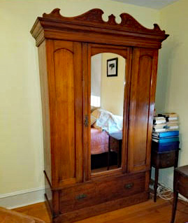 Antique Beveled Mirror Armoire
