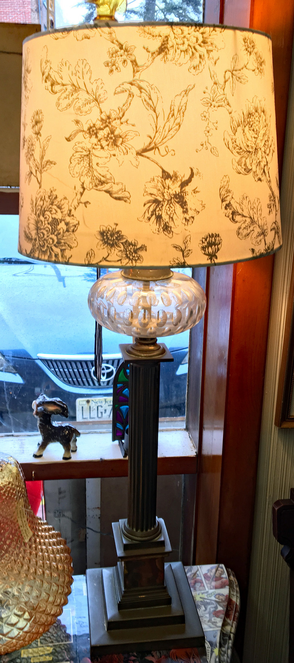 Antique Brass & Crystal Lamp with Toile Shade