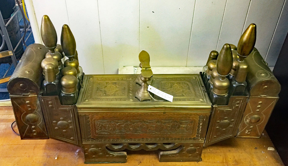 Vintage Solid Brass Turkish Shoe Shine Station