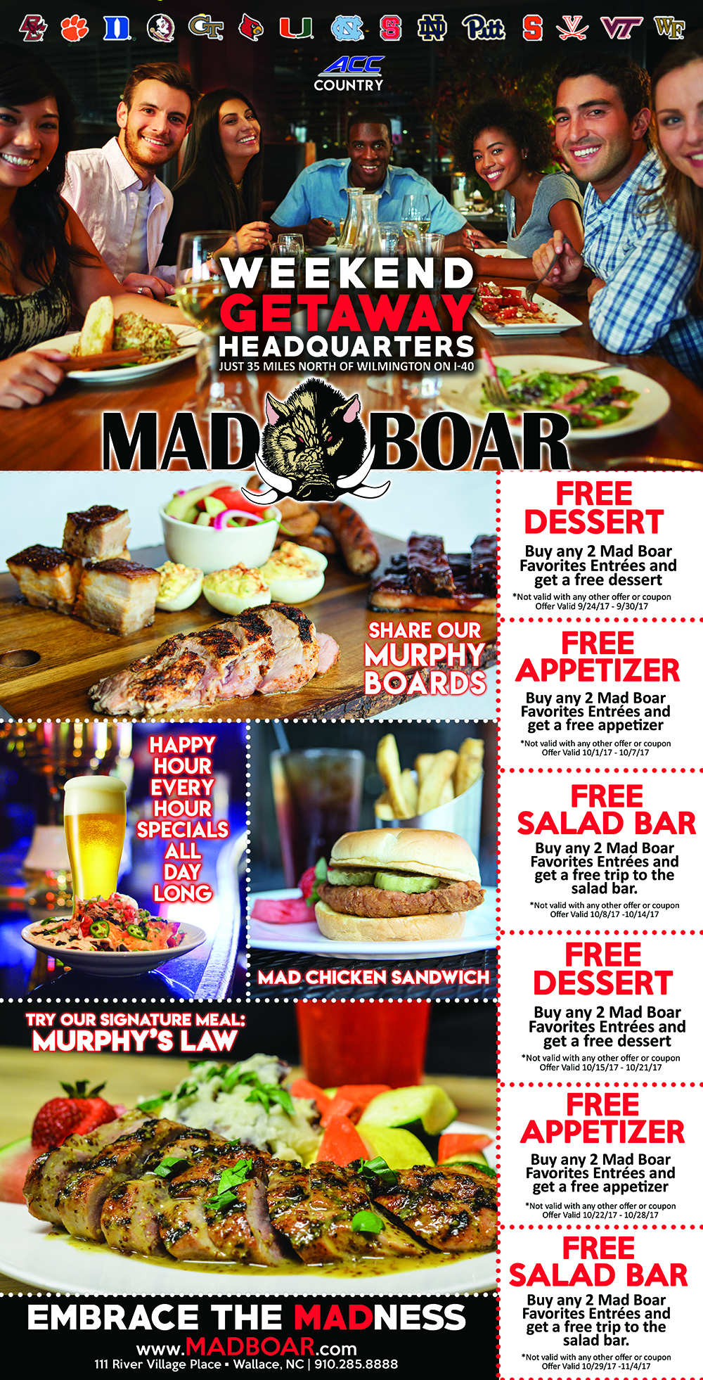 Print out these coupons and bring with you on your next visit to Mad Boar in Wallace!