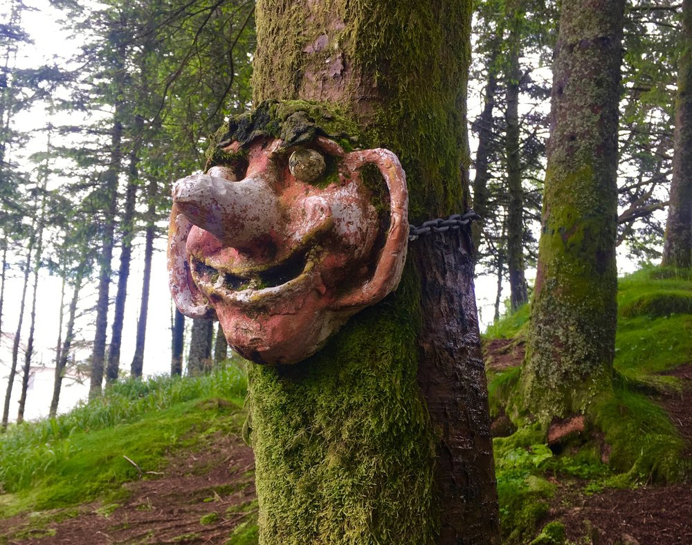 Grinning Troll on Mount Fløyen , Norway   Photo: C. Adams